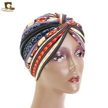 Nieuwe Afrikaanse Tulband twist tulband Bloem Gedrukt Bandana Hoofddoek Vrouwen Moslim Hoofddoek Haarband Chemo Haaruitval