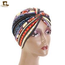 Nowa afrykańska Turban twist turban kwiat drukowana chustka chustka na głowę kobiety muzułmańska chustka na głowę opaska do włosów Chemo utrata włosów
