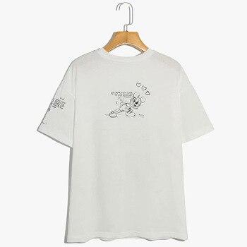 Disney T-Shirt Harajuku Mickey Mouse Cartoon Sketch Print Short Sleeve Vintage Women T-Shirt Cotton Korea Female Tee Tops White 2
