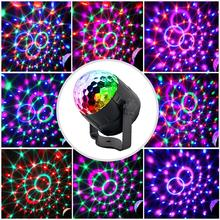 Mini RGB LED Crystal Magic Ball Stage Effect Lighting Lights Party Disco Club DJ Lamp with Remote Control 15 Colors Lumiere Beam