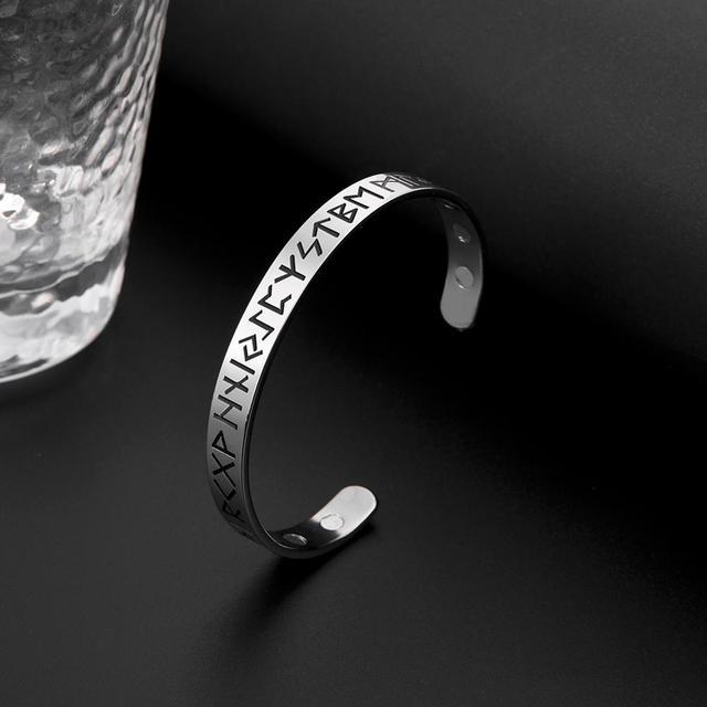 Bracelet nordique Viking Rune acier inoxydable magnétique 3