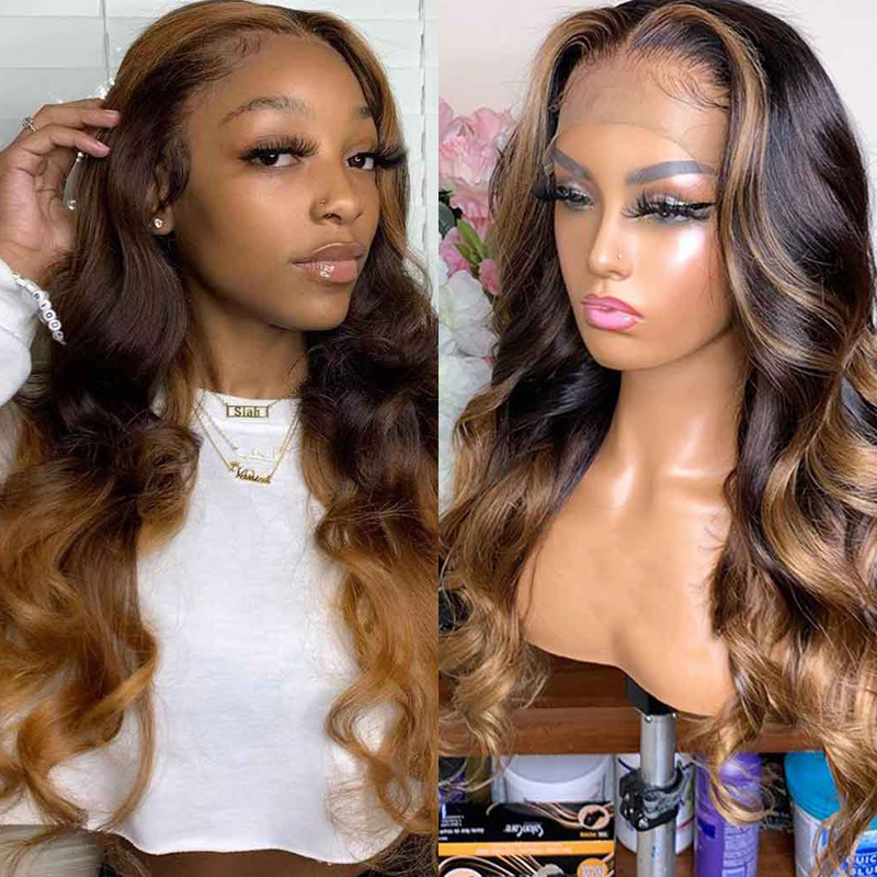 370 Lace Front Human Hair Wig High Ratio Natural Wave Brown Blonde Highlight Pre Plucked Lace Wig 10'-30