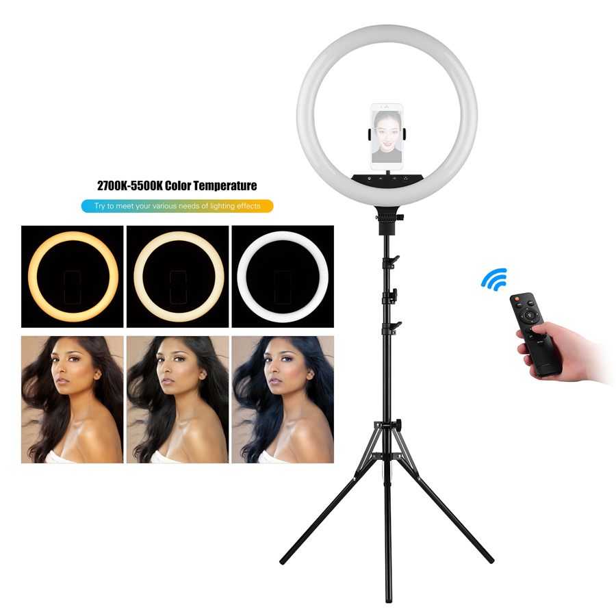 3 phone holder 18 Inch LED Ring Light Lamp 48W Remote Dimmable Brightness Adjustable 3 Color Temperature Lighting Photography