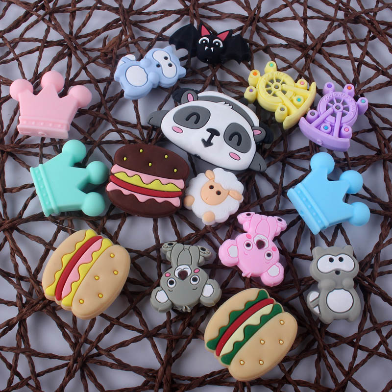 3Pcs Cute Animal Charms Newborn Baby Teething Beads Mini Teether Beads DIY Pacifier Clips Chain Leash