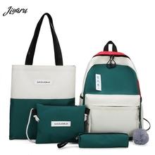 2020 4 sztuk plecaki chłopięce na co dzień uczniowie szkoły torby moda nastolatki plecaki torby do liceum Unisex podróży plecaki tanie tanio NoEnName_Null Płótno zipper 420g Canvas 39cm Patchwork ZF0646 ZF0690 11cm 28cm