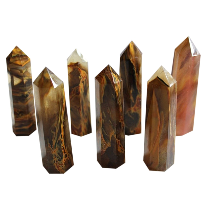 Artificial Natural Yellow Citrine Quartz Crystal Rough Polished Point Column