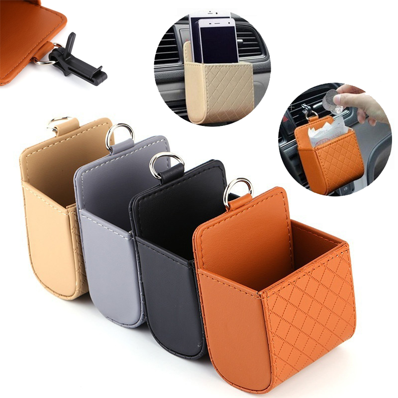 1Pcs Car Styling PU Leather Coin Bag Case Car Outlet Vent Seat Back Tidy Storage Box Pocket Organizer Hanging Holder Pouch