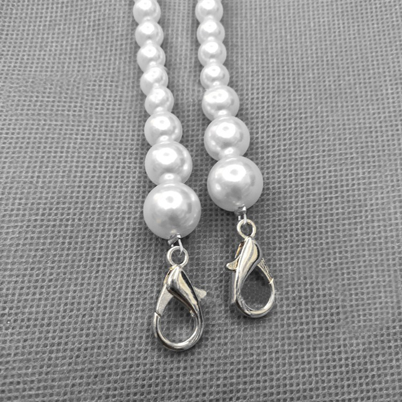 2020 Fashion Bag Belt White Imitation Pearls Chain Strap Long Chain  With Buckle For Women Bag Ornament Jewelry Gift Female