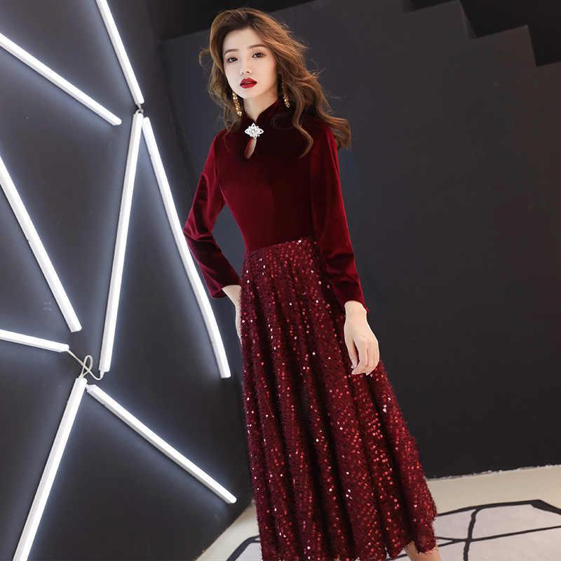 בורגונדי נשים Velour Slim Cheongsam ארוך המפלגה שמלת סיני סגנון מנדרינית צווארון אלגנטי נצנצים משתה נשף שמלת Vestido