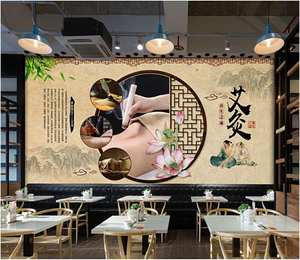 Wallpaper Moxibustion Photo 3d Home-Decor Chinese-Style Retro Health Custom for 3-D Nostalgic