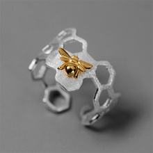 INATURE 925 Sterling Silver Honeycomb Bee Open Rings for Women Party Jewelry Gift