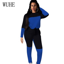 WUHE Autumn Casual New Style Solid Color Romper Playsuits Two Pieces Sets Patchwork Elegant O-neck Long Sleeve Womens Jumpsuits