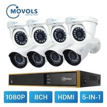 Movols Video Surveillance Camera Kit 2MP CCTV AHD 4pcs Bullet 4pcs Dome camera Outdoor Waterproof 8CH DVR Security Camera System