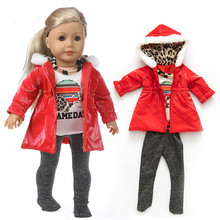 цена Fit 18 inch 43cm American Baby New Born Girl Doll Clothes Red Purple Yellow Down Suit For Baby Birthday Gift онлайн в 2017 году