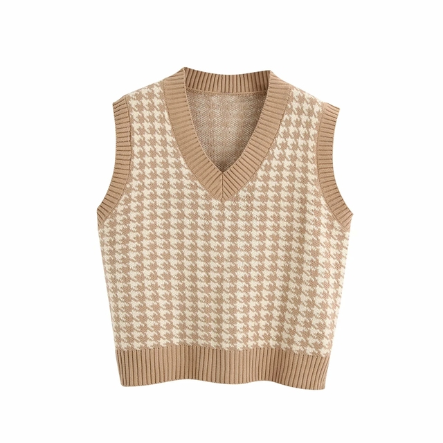 Fashion sleeveless vest sweater women pullover casual v neck knitted sweater winter cute korean sweater 2020 4