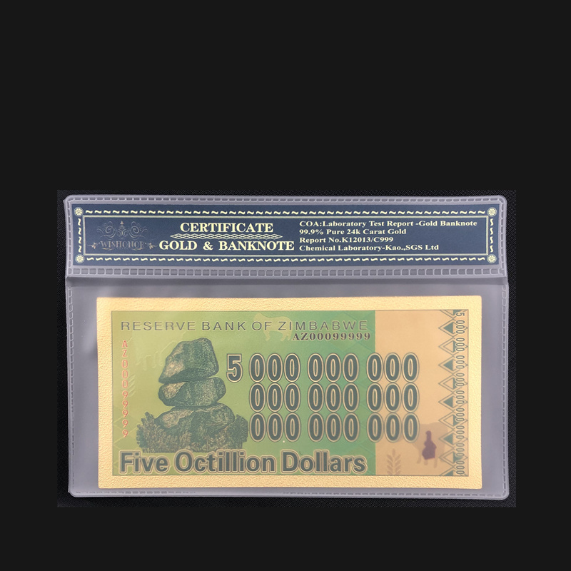 1pcs Five Octillion 24k Gold Plated Zimbabwe Gold Banknote Collectible Gold Money With Plastic Case