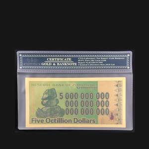 1pcs Five Octillion 24k Gold Plated Zimbabwe Gold Banknote Collectible Gold Money with Plastic Case(China)