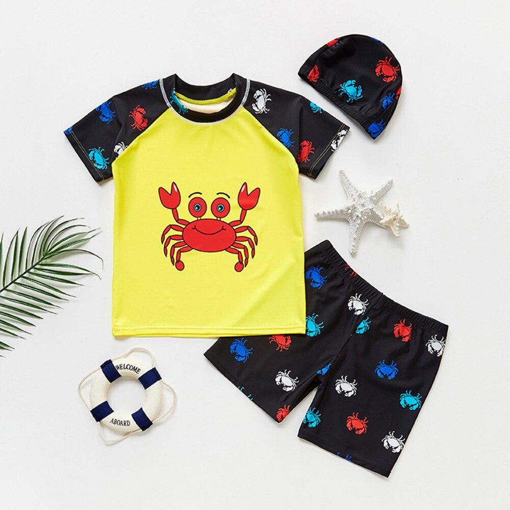 KID'S Swimwear BOY'S-Child Two-piece Swimsuits Swimming Trunks Swimming Cap Large Children Hot Springs Cartoon Dinosaur Three-pi