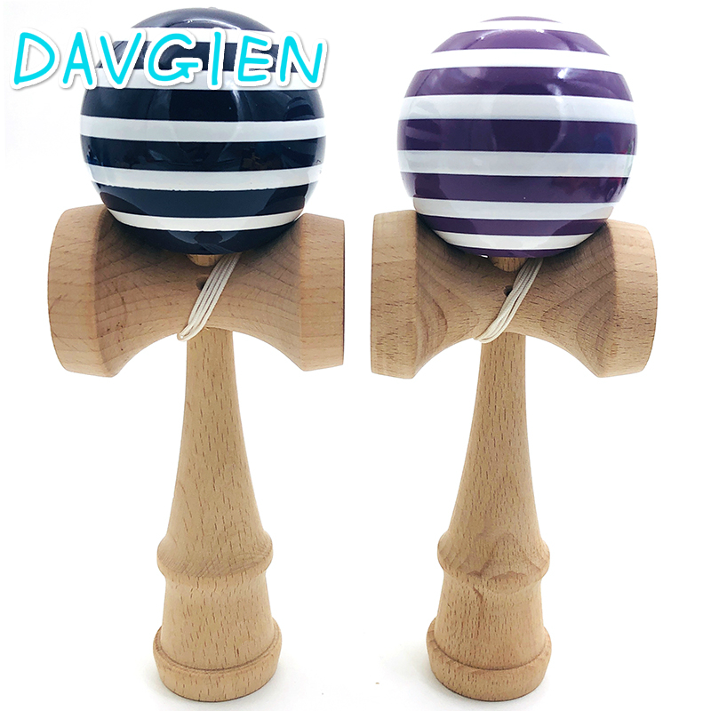 Hot 18cm Navy Stripes Kendama Wooden Toy Stress Ball Skillful Juggling Antistress Outdoor Sport Bilboquet For Children Education