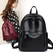 2019 Women Backpacks High Quality Female Vintage Black Leather Backbag For Girls School Bags Travel Bagpack Ladies Back Bag Sac