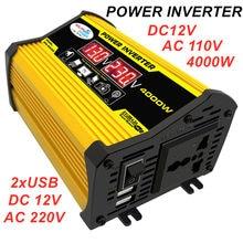 Автомобильный инвертор напряжения 4000 Вт, 12 В, 220 В, 110 В, синусоидальный сигнал, преобразователь солнечной энергии, трансформатор от 12 В до 110 В...