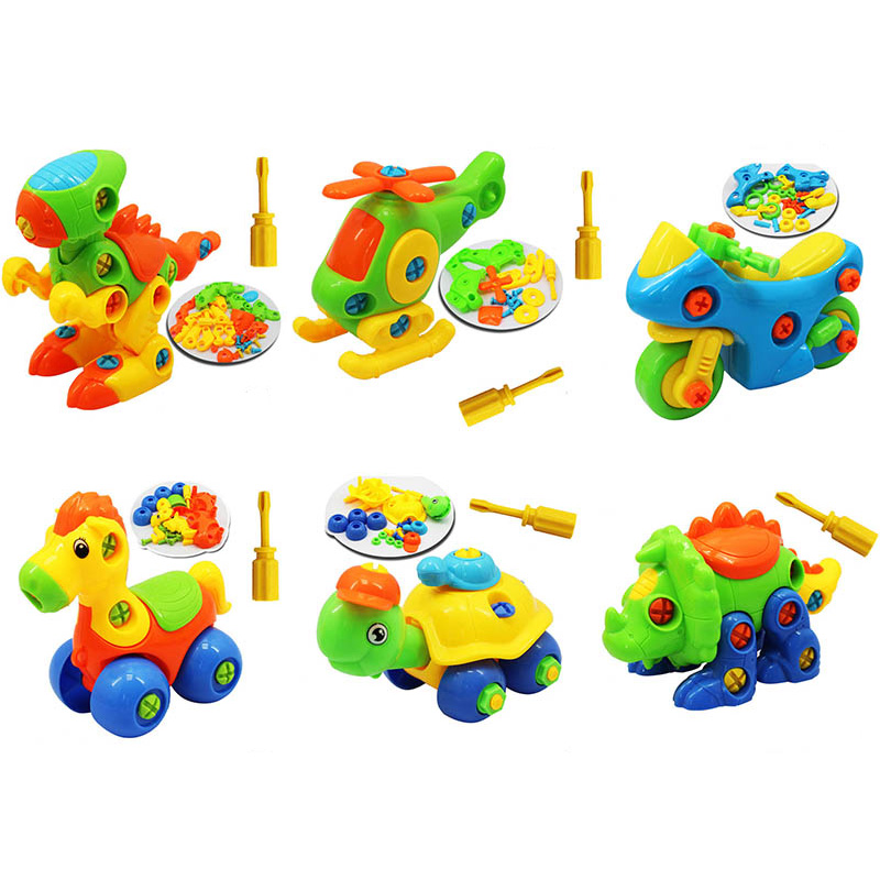 DIY Nut Disassembly Building Block Toys Baby Early Learning Education 3D Screw Nut Puzzle Engineering Truck Airplane Toy Model