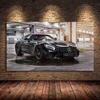 Póster de coche negro moderno, sin marco, AMG GT R, supercoche e impresiones de seda, cuadro sobre lienzo para pared, decoración para sala de estar
