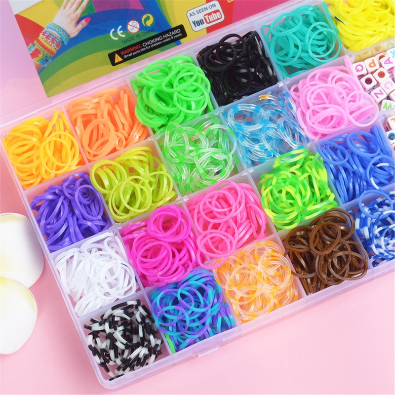 New 1500pcs Rainbow Rubber Bands Set Kid Multi-functional Classic Practical Funny DIY Toys Rainbow Woven Bracelet for Girl Gifts 3