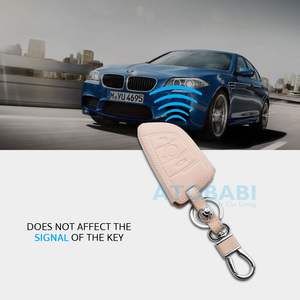 Image 4 - Leather Car Key Case For BMW 1 2 5 Series 218i X1 F48 X5 X6 F15 3 Buttons Smart Remote Control Fob Cover Keychain Protection Bag