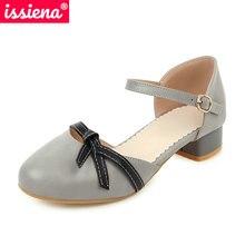 ISSIENA 2021 Kids Shoes Spring Summer Round Toe Girls High Heels Buckle Children