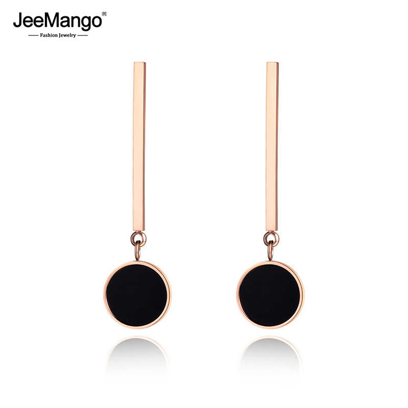 JeeMango Classic Black Round Acrylic Long Earrings For Women Girl Rose Gold Stainless Steel Jewelry Christmas Party Gift JE19007