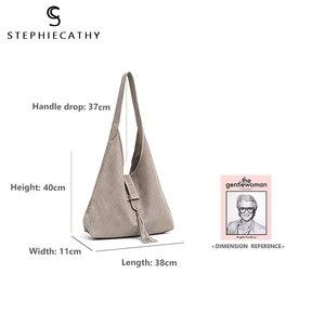 Image 4 - Scブランド高品質の牛革ショルダーバッグ女性のファッションタッセルデザイン女性ラージホーボー本革女性のハンドバッグ