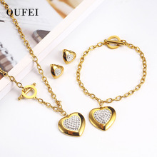 OUFEI Stainless Steel Heart Necklace Earrings Jewelry For Women Sets Wedding Jewellery Jewelry Sets Gifts 2019 Fashion wholesale newest stainless steel fashion heart jewelry 2 colors necklace and earrings sets for women sbjjgbed