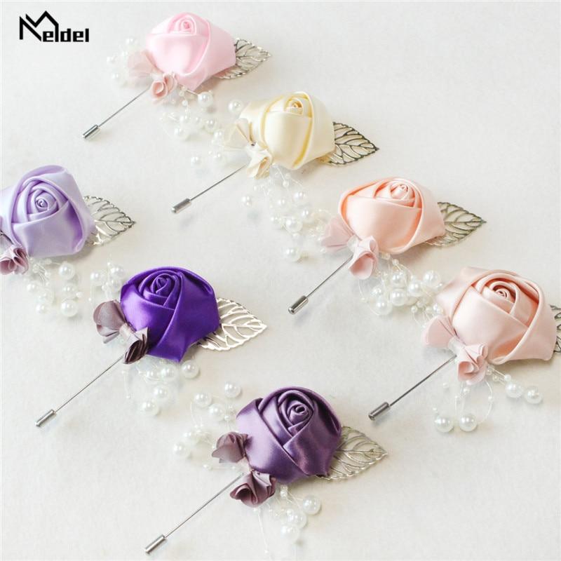 Meldel Boutonniere Men Wedding Silk Corsage Boutonniere Flower Artificial Flower Buttonhole Wedding Planner Marriage Accessories