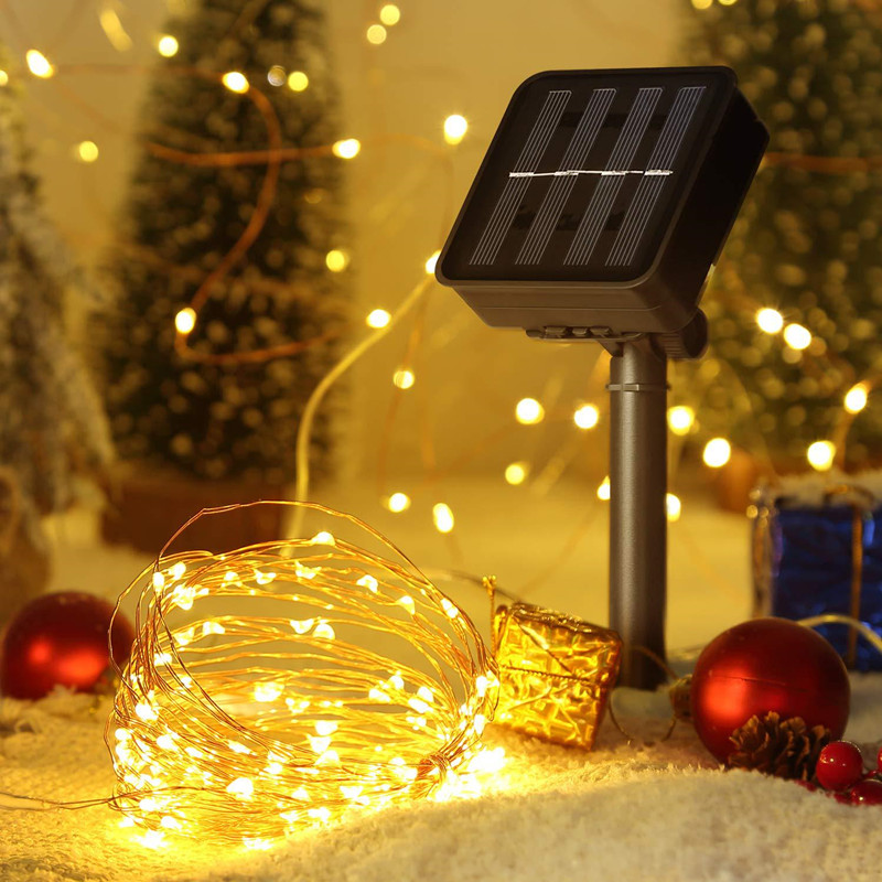 100 200 LED Solar Lamp Waterproof Copper Wire String Fairy Lights Christmas Party Garland Solar Power Lamp for Outdoor Garden