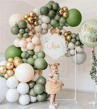 136pcs Avocado Green Balloon Garland Arch Kit Retro Color Balloon Set Wedding Birthday Party Decorations Baby Shower Helium