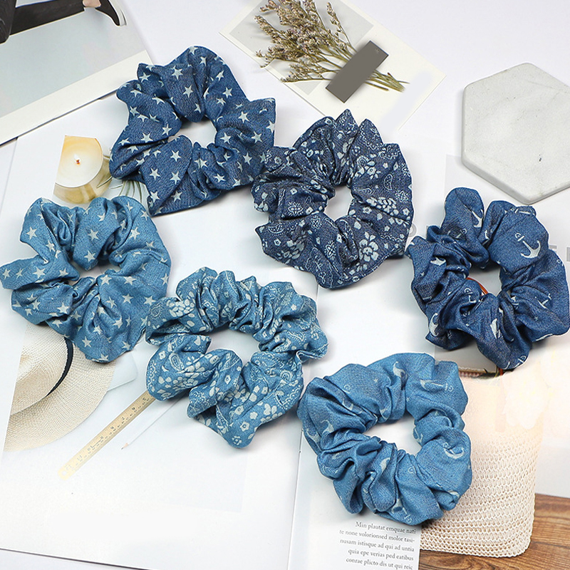Light Color Women Girls Hair Rope Fashion Blue Color Scrunchie Elastic Hair Ties Rubber Band Ponytail Holder Hair Accessories