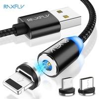 RAXFLY-Cable magnético para móvil, Cable Micro USB tipo C de carga rápida para iPhone 11 Pro Max, Xiaomi Redmi, 1M