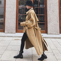 Large Size Long Woolen Coat Autumn and Winter Women's Clothing New Fashion Temperament Double breasted Bandage Jacket f2477