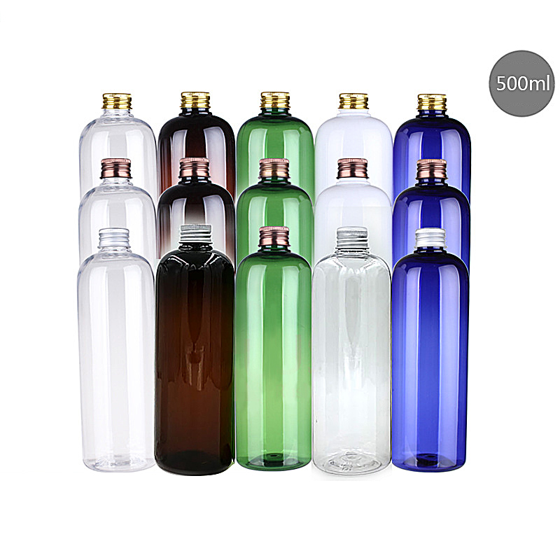 500ml Round Shoulder Dew Bottle Emulsion Plastic PET Bottle Silver Aluminum Cover Leakproof Bottle Cosmetic Sub-bottle