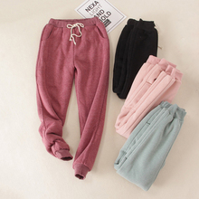 цена CALOFE Women Jogger Sweatpants Wool Winter Pants Women Thick Plus Velvet Trousers Women Loose Lace Up Warm Fleece Harem Pants