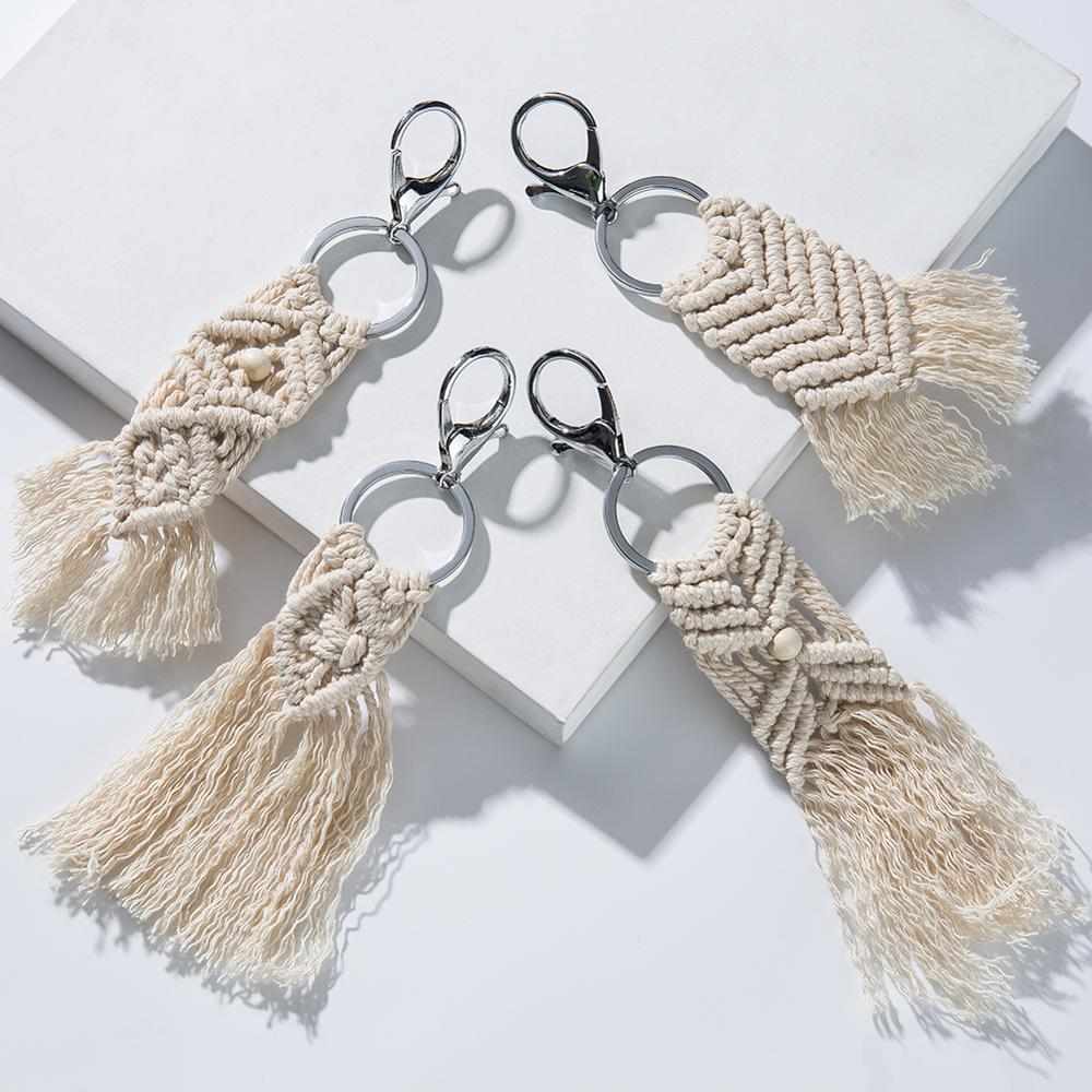 Artilady Hawaii Tassel Keychains For Women Boho Key Holder Keyring Macrame Bag Charm Jewelry Gift For Friends Drop Shipping