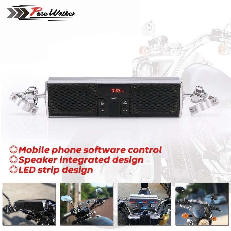 Motorcycle Car Mounted Amplifier Trumpet All-in-one Bluetooth Audio LED Display Panels Waterproof Stereo Loudspeaker Box USB Pla