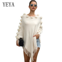 YEYA Poncho Style Coat Autumn Explosion Tassel Cloak Shawl Hair Ball O Neck Pullover Solid Color Sweater Women Knitting