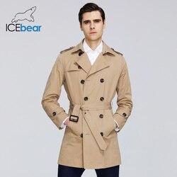 Мужской длинный Тренч ICEbear, ветровка с лацканами, брендовая одежда, MWF20709D, 2020
