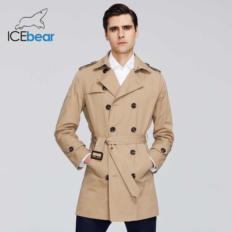 ICEbear 2020 جديد الرجال خندق معطف عالية الجودة الرجال التلبيب طويل مصدات الرياح الرجال ماركة الملابس MWF20709D