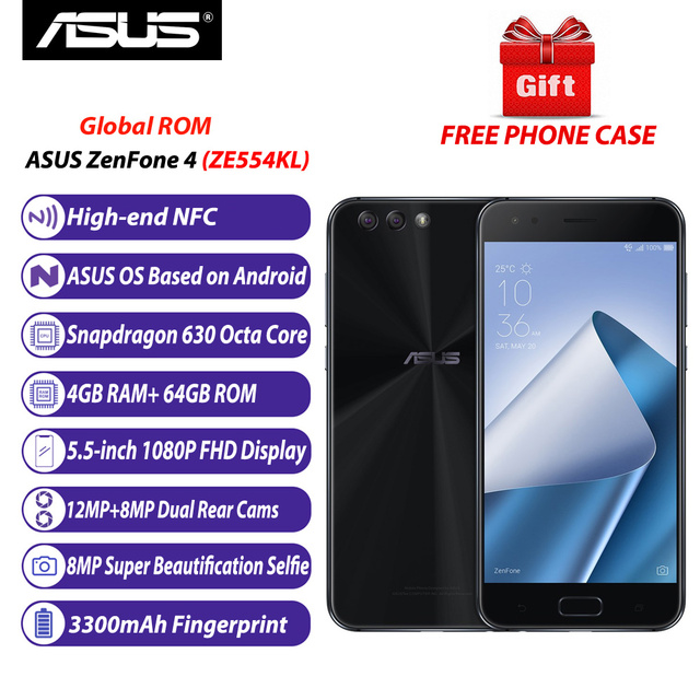 Global Version ASUS ZenFone 4 (ZE554KL) Mobile Phone 4GB 64GB Snapdragon 630 Octa-core 5.5-inch 12MP+8MP NFC 3300mAh Fingerprint