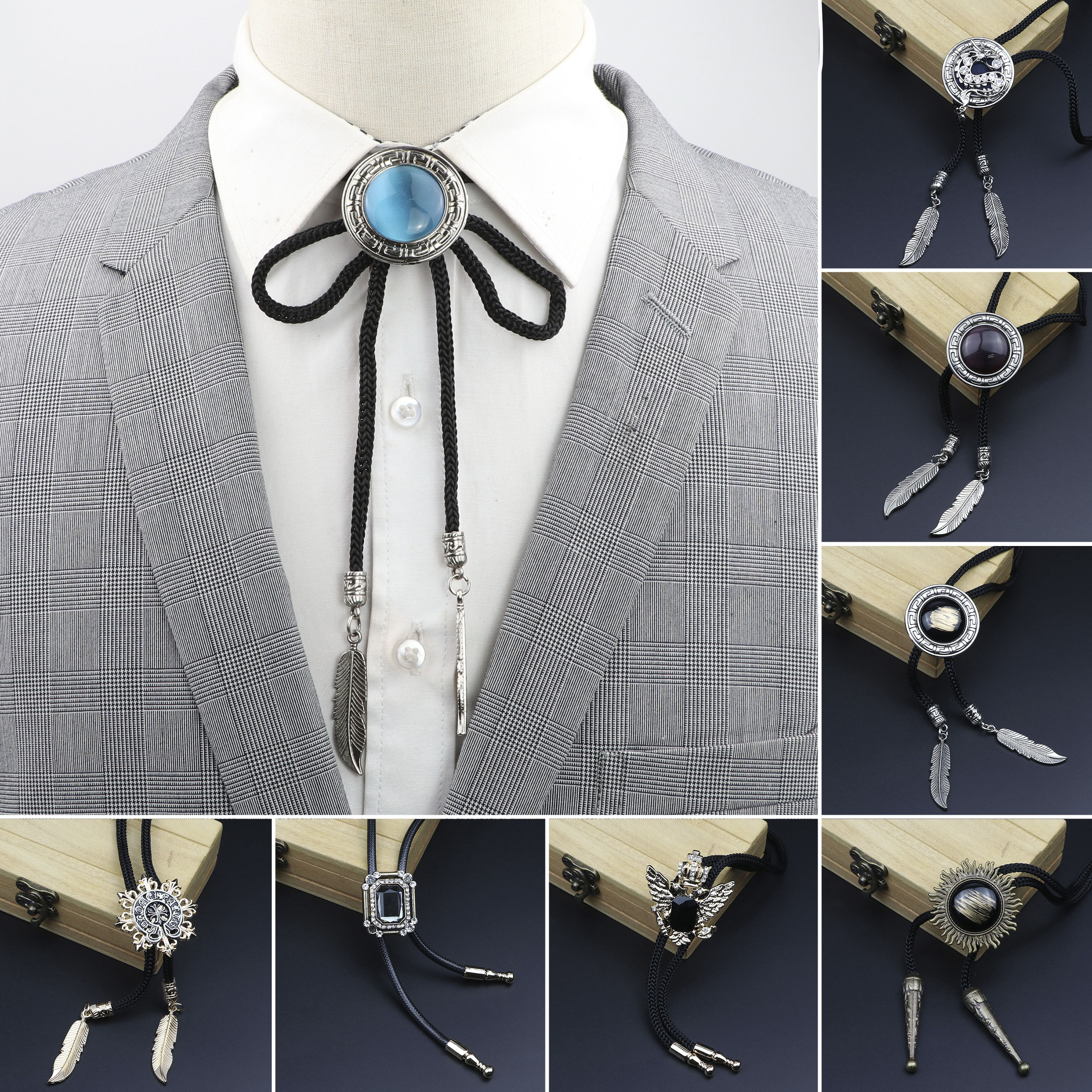 Oval New Trendy Mint Green Black Bolo Tie Western Cowboy Dress Shirt Accessory Jewelry Bolo-ties Necktie Necklace Gift For Men