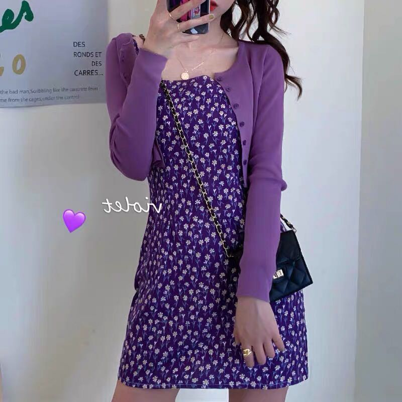 Summer New Flavor Chic Floral Print Slim Women Dress Sleeveless Purple Spaghetti Strap Dress Slash Neck Ladies Mini Dresses