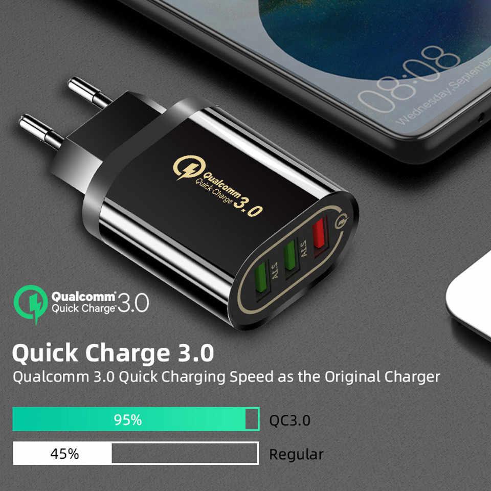 Cargador rápido de 18W 3,0 3 puertos USB cargador rápido QC3.0 UE/EE. UU. Para Samsung S10 Xiaomi Redmi Note 7 iPhone X cargador de pared para teléfono